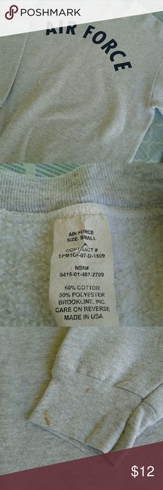 """Air Force Pullover Gently pre loved Air Force sweatshirt size Small. Small marks on bottom of left sleeve will probably come out in the wash, item has been in storage. Please see pictures for more details.  Measurements laying flat: 21"""" wide 24"""" long. Thanks for looking!! Air Force Shirts Sweatshirts & Hoodies"""