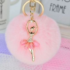 Ballerina Girl Beauty 8CM Fluffy Real Rabbit Fur Ball Pompon Pom Pom Keychain Car Key Chain Key Ring Decoration For Purse Bag