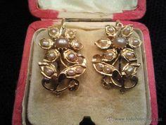 Antigüedades: Pendientes antiguos ( siglo XVIII?) oro de 18k y perlas de aljofar - Foto 15 - 39842723