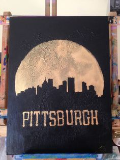 Items similar to Pittsburgh skyline silhouette black city on golden moon on Etsy Pittsburgh Skyline, Skyline Silhouette, Ap Art, Note Cards, Cool Words, Art Projects, Original Art, Handmade Gifts, Crafty