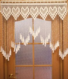 Items similar to White door curtain with hearts and acrylic beads, lace bead curtain on Etsy No Sew Curtains, Crochet Curtains, Beaded Curtains, Door Curtains, Curtain Door, Crochet Curtain Pattern, Curtain Patterns, Curtain Designs, Curtain Ideas