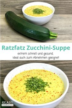zucchini soup - A delicious and tasty zucchini soup in just a few minutes. Ideal for those who want to escape the t -Ratzfatz zucchini soup - A delicious and tasty zucchini soup in just a few minutes. Ideal for those who want to escape the t - Easy Soup Recipes, Low Carb Recipes, Vegetarian Recipes, Healthy Recipes, Vegetarian Lifestyle, Law Carb, Zucchini Soup, Zucchini Parmesan, Quick And Easy Soup