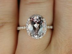 Rosados Box Jessica Rose Gold Oval Morganite Halo Engagement Ring. Just WOWWWW!