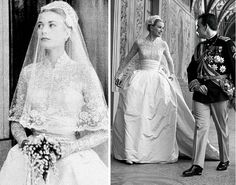 New Wedding Dresses Lace Princess Grace Kelly 44 Ideas Wedding Gowns With Sleeves, Lace Wedding Dress, Princess Wedding Dresses, New Wedding Dresses, Formal Wedding, Celebrity Wedding Dresses, Celebrity Weddings, Princesa Grace Kelly, Grace Kelly Wedding