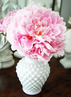peony and milk glass