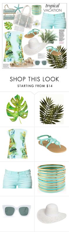 """Bienvenue au paradis: vacances tropicales"" by frane-x ❤ liked on Polyvore featuring Balmain, WALL, Oasis, ANNA, Zara, PLANT, Fantasy Jewelry Box, CÉLINE and Dorothy Perkins"