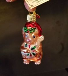Old World Ornaments Mouth Blown Glass Christmas Mouse Hand Painted