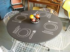 chalkboard paint... fun for kids on tables or fun for adults on the bar.