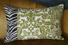 patchwork pillow case 16x24 olive and zebra by HAWThome on Etsy