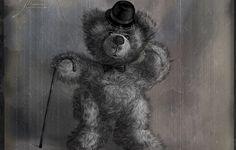 Обои картинки фото 156, тедди, старое фото, медведь, шляпа