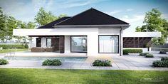 Projekt domu HomeKONCEPT 32 by HomeKONCEPT Single Floor House Design, House Roof Design, House Outside Design, Best Modern House Design, Small House Design, Facade House, Single Storey House Plans, One Storey House, Stone Exterior Houses