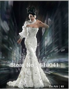 2013 Designer strapless mermiad beaded ruffle organza middle east crystals wedding dress white wd074 $5,183.50
