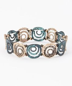 Another great find on #zulily! Green & Gold Circle Stretch Bracelet #zulilyfinds