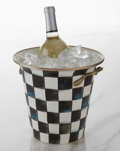 Courtly Check Enamel Wine Cooler by MacKenzie-Childs at Neiman Marcus.