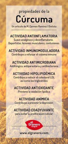 Propiedades para la salud de la cúrcuma. #curcuma #salud #infografía