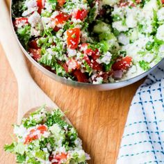 Cauliflower Rice Tabbouleh Salad 21 Cauliflower Recipes For Anyone Trying To Eat Fewer Carbs Cauliflower Rice Salad, Cauliflower Tabbouleh, Cauliflower Dishes, Cauli Rice, Vegan Cauliflower, Veggie Recipes, Vegetarian Recipes, Cooking Recipes, Healthy Recipes