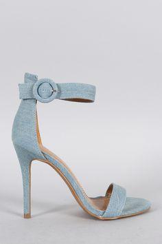 Shoe Republic LA Denim Ankle Strap Heel