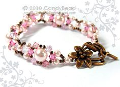 Rosy Pink Swarovski Pearl Bracelet by CandyBead Best by candybead
