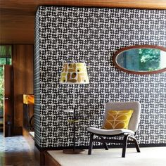 by Orla Kiely  Stylised acorn cups in a retro geometric look by Orla Kiely, adds a funky  vibe to your decorative scheme  click here if you wish to order samples  non woven - easy paste the wall straight match pattern repeat - 7 in roll 20.5 in wide, 33 ft long coverage 56 sq. ft.