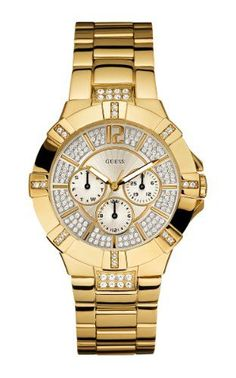 Guess Watch for Women GUESS Women s U13576L1 Dazzling Sporty Gold-Tone  Watch   You can find more details by visiting the image link. ee593668f7