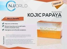 Instant effect we ship internationally Order now NLighten Kojic Papaya with Glutathione soap is made up of 3 powerful lightening complex that helps even out blemishes, remove impurities like dark spots, freckles and pimple marks. It has Glutathione that helps whiten your skin, Kojic that removes those pimples and acne marks and papaya that makes it softer and smoother.