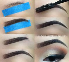 easy way to draw on your eyebrows, use masking tape, clean brows