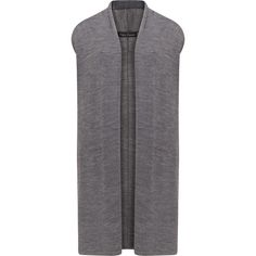 Two Danes Grey Plus Size Merino wool gilet (£96) ❤ liked on Polyvore featuring outerwear, vests, grey, plus size, plus size vest, shawl collar vest, grey vest, longline vest and gilet vest