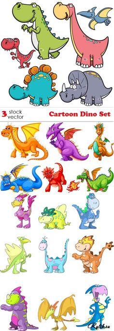 Динозавры - детские векторные рисунки. Vectors - Cartoon Dino Set