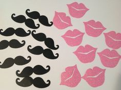 FREE SHIPPING 100 black mustache and pink glitter lips confetti- gender reveal- shower- mustache bash, baby shower, wedding on Etsy, $14.75