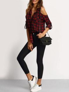 Shop Red V-neck Open Shoulder Checked Blouse online. SheIn offers Red V-neck Open Shoulder Checked Blouse & more to fit your fashionable needs. Red Blouses, Blouses For Women, Street Style Chic, Mode Hippie, Shoulder Shirts, Shoulder Tops, Cold Shoulder, Red And Black Plaid, Fashion 2017