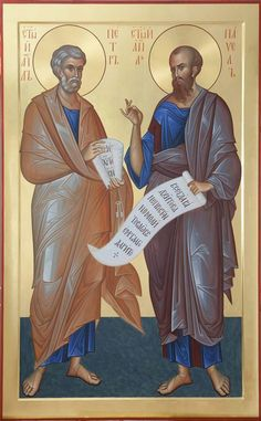 Απόστολοι Πέτρος & Παύλος / Apostles Peter & Paul Religious Pictures, Religious Icons, Religious Art, Byzantine Icons, Byzantine Art, Greek Icons, St Peter And Paul, Russian Icons, Religious Paintings