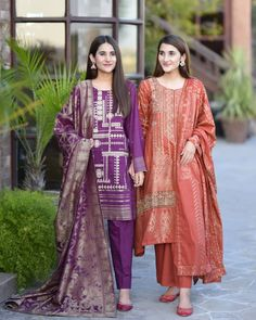 Which outfit you'll like to style for your formal event🌸🌸 Jacquard dupatas are trending these days and we seriously can't… Asian Wedding Dress Pakistani, Pakistani Fancy Dresses, Pakistani Fashion Casual, Pakistani Dress Design, Pakistani Outfits, Stylish Dresses For Girls, Wedding Dresses For Girls, Casual Dresses, Stylish Girl