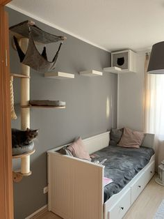 70 Brilliant DIY Cat Playground Design Ideas Your beloved cat definitely needs a. - 70 Brilliant DIY Cat Playground Design Ideas Your beloved cat definitely needs a place to play! Animal Room, Ikea Small Bedroom, Modern Bedroom, Contemporary Bedroom, Master Bedroom, Bedroom Decor, Small Bedrooms, Master Suite, Extra Bedroom