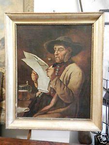Magnifico dipinto a olio su tela, raffigurante uomo che fuma la pipa e legge il giornale, con davanti un boccale di birra. Il dipinto, risalente al XIX secolo, riporta la sigla I. E..