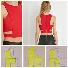 Corte e Costura: Curso do Iniciante ao Profissional! Dress Sewing Patterns, Blouse Patterns, Clothing Patterns, Blouse Designs, Fashion Sewing, Diy Fashion, Ideias Fashion, Moda Fashion, Costura Fashion