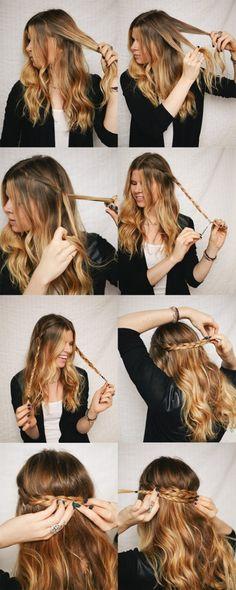 Tutorial coiffure  la couronne tressée sur cheveux détachés braid hair  tuto