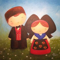 Petits alsaciens - Peinture acrylique sur carton toilé - Myriam Lakraa Créations