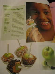 Mini caramel apples using butterscotch or peanut butter chips (melted)