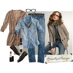 Tan cardigan + denim shirt.