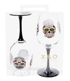 """SUGAR SKULL WINE GLASSES by C.R. Gibson: Acrylic. Handwash only. Colored stems. 16-ounce capacity. 31/2"""" W x 83/4"""" H."""