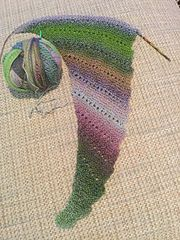 This shawl starts with just a few stitches and grows until it is as large as you like or you run out of yarn.