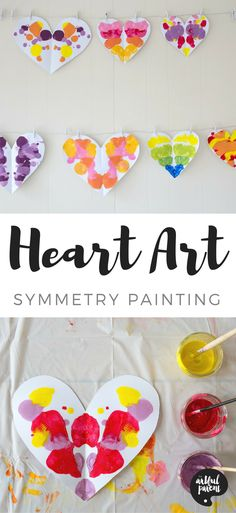 Use this symmetry painting technique to create unique heart art for Valentine's Day. This is an easy and fun art activity for kids of all ages, from toddlers on up!