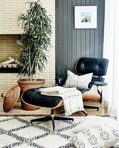 Inside Fitness Mogul Lorna Jane's Elegant L. Retreat Cozy living space with a fireplace, a large plant, a Eames lounge chair, and gray shiplap walls Cozy Living Spaces, Living Room Lounge, My Living Room, Home And Living, Living Room Furniture, Mid Century Modern Living Room, Living Room Modern, Eames Chairs, Lounge Chairs