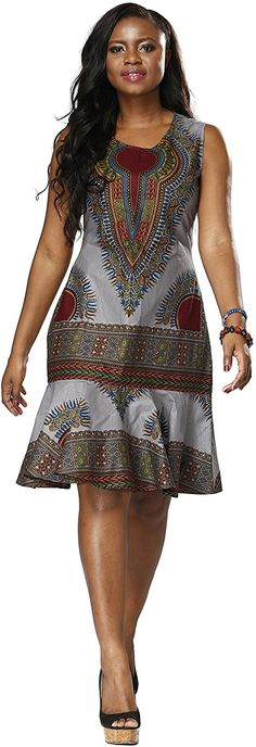 Amazon.com: Shenbolen Woman African Print Dress Dashiki Traditional Dress Party Dresses (Medium, A): Clothing