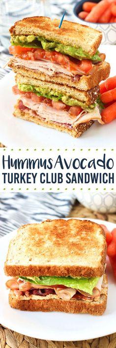 This hummus avocado turkey club sandwich features juicy tomato, bacon, turkey, mashed avocado, and creamy hummus (instead of mayo!), all on multigrain bread. Jazz up lunch time! #OscarMayerNatural #sponsored