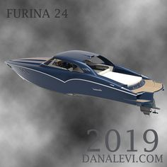 2019 Furina 24 foot powerboat is our luxury powerboat designed with inspiration from the and retro automotive style. This powerboat for sale with Volvo engine or Ilmor engine. Ideal for your powerboat life or luxury yacht tender. Power Boats For Sale, Cool Boats, Classic Sports Cars, Luxury Yachts, Boating, Volvo, Engine, Retro, Life