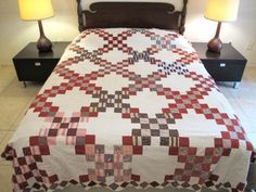 Vintage-Antique-Hand-Sewn-IRISH-CHAIN-Quilt-TOP-19th-Century-Cotton-Fabrics