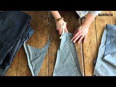 Farkut kuteeksi - näin sen teet Redone Jeans, Weaving, Rag Rugs, Helsinki, Carpets, Stitching, Pretty, Youtube, Bags