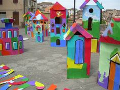 cartboard house, children's town, abitare