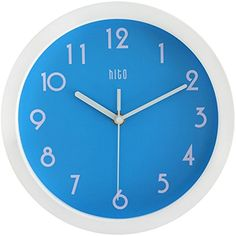 HITO Modern Colorful Silent Non-ticking Wall Clock- 10 Inches (Blue) #hito
